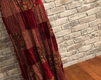 Phool Maxi Skirt Vintage - Red Patchwork