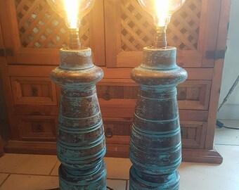 unique pair of vintage lamps