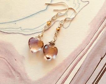 Ametrine heart earrings, pyrite, sterling silver earrings