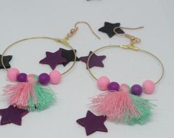 hoop earrings bead and tassel Alice