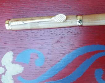 Pen, tennis, gold, wood, Heather, black ink