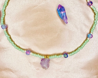 Turquoise and Amethyst choker