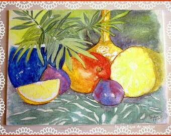 Watercolor still life painting