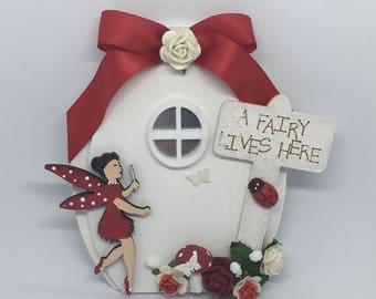 Fairy door handmade pretty magical woodland red toadstool