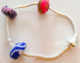 Charm bracelet European Shambala style Silver tone
