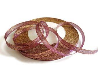 Ribbon 6 mm dark purple glitter