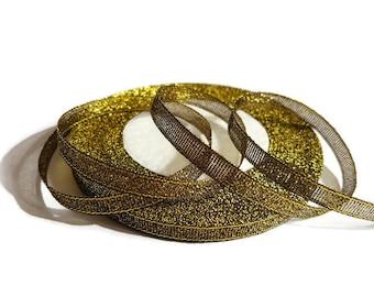Ribbon 6 mm black gold glitter