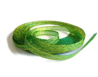 Ribbon 6mm dark green glitter