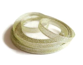 Ribbon 6 mm light green glitter