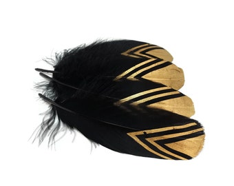 Long feathers decorated Golden x 10