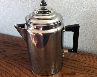 Vintage Silver Coffee Pot Percolator With Glass Finial - Mid Century Modern/Modern Farmhouse