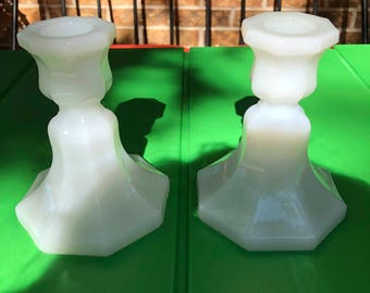 Milk Glass Candle Holders Pair - Mid Century Shabby Chic