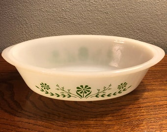 Glasbake Green Daisy Floral Casserole Dish - 1 Quart