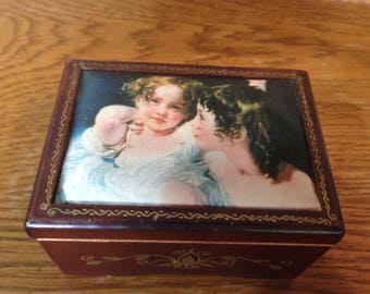 Vintage Linden Music Box/Image of Calmady Children