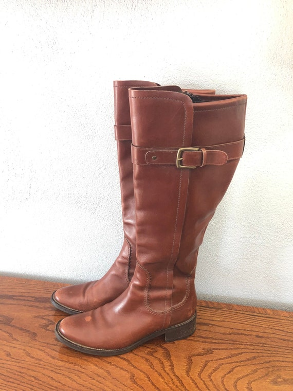 Vintage Cole Haan Brown Leather Tall Boots, Leathe