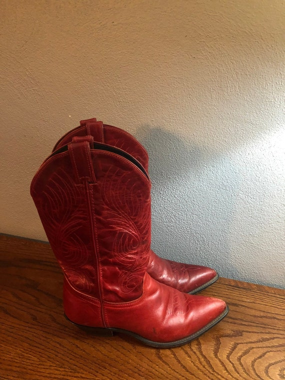 Vintage Red Leather Cowboy Boots, Code West Leathe