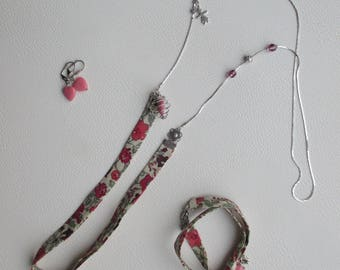 Adornment jewelry necklace, bracelet and earrings liberty pink. Unique adornment for women