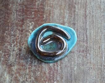 Handmade Ceramic Brooch, teal glaze, ceramic, pin