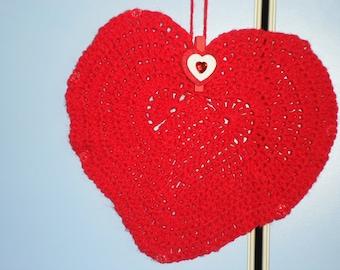 BIG HEART crocheted in red wool