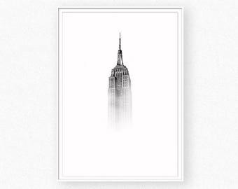 Building print, architecture print, NYC, black and white architecture photo, skyscraper wall art, minimalist wall art