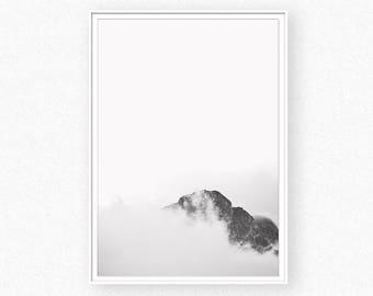 Mountain print, Mountains, mountain wall art, black and white landscape print, mountain landscape