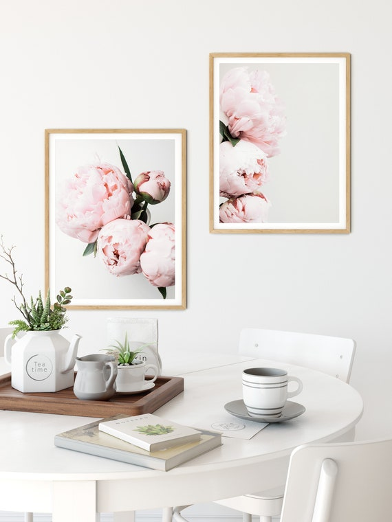 Set of 2 Pink Peonies Prints,Floral Wall Art Set,Peony Print,Bedroom Wall  Decor
