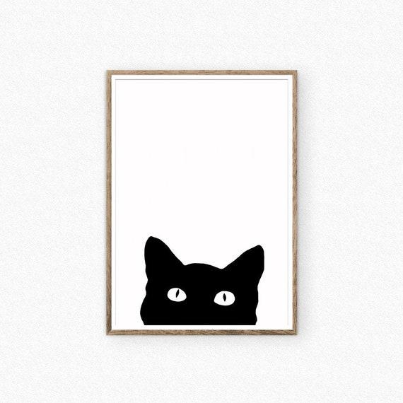 Cat print black cat print black cat wall art black cat | Etsy