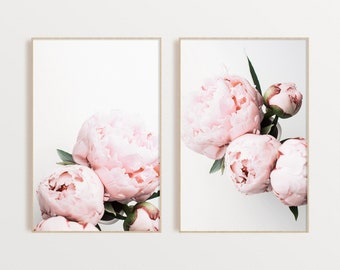 Set of 2 Peonies Prints Floral Wall Art Peony Print Pink Floral Print Set Gift for Her Botanical Printable Set Instant Download
