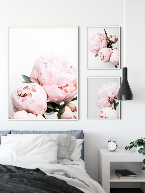 Set of 3 Pink Peonies Prints,Floral Wall Art Set,Gift for Her