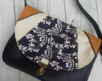 85cf534f46 sac à main femme,sac besace,sac bandoulière,simili cuir,coton,  cerisier,attache cartable,bleu marine, blanc, moutarde, japonais