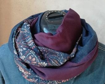 Snood femme tendance , echarpe tube, foulard,fluide, tour de cou, lin,  coton , viscose, motifs cachemire , marine, prune 5441f425c61