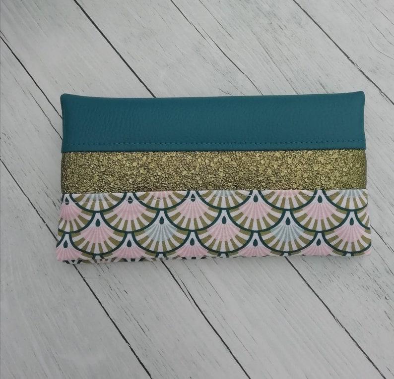 cover faux leather chequier protector cotton fans blue,kaki Checkbook door gift idea check etui