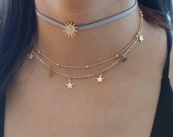Gold Star Choker Set, Satellite Chain Gold Choker, Grey Suede Choker, Set of