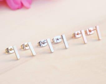 Simple Bar Earrings, Minimalist Bar Stud Earrings, Everyday Tiny Bar Stud Earrings, Rose Gold, Gold or Silver Earrings