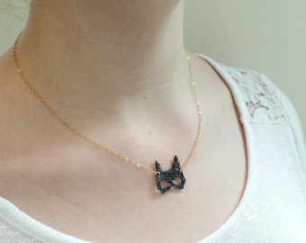 Gold Gold Filled necklace - mask Cat Woman - black