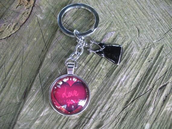 Porte clé coeur rouge et nuisette noire