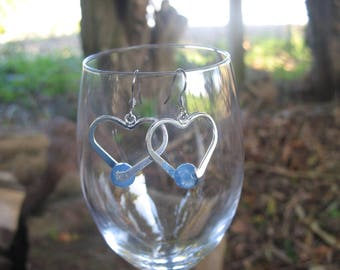 Heart and blue faceted agate earrings