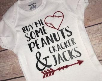 af45b73f79a12f Cracker Jacks Baby girl baseball, Love Baseball onesie
