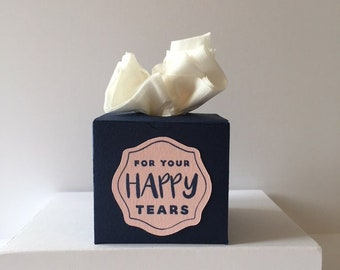 """10 x Handmade Mini Tissue Boxes /""""For Your Happy Tears/"""" Blush Pearl Pink"""