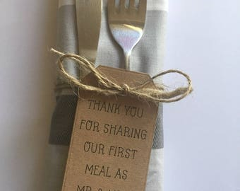 Handmade Thank You For Sharing Our First Meal as Mr and Mrs, PERSONALISED Brown Kraft Card Wedding Tags Suname and Date Qty's 10-100