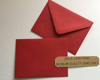 Deep Crimson Red Premium Quality Envelopes 100gsm Greeting Cards/Craft/Wedding - Qty's 10 - 1000 & in 6 Different Sizes