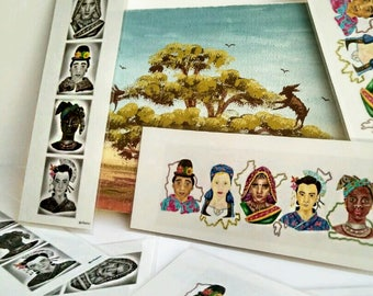 Laminated bookmarks of 5 x 15 cm. Collection of women of race, ethnic groups, Pasapáginas, Punto Book, African, Bolivian, Japanese, India