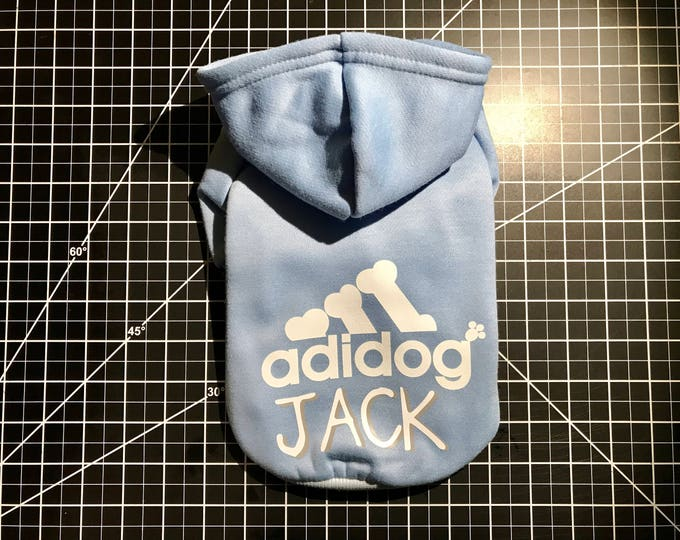 Featured listing image: Adidog | Adidog hoodie | Custom dog hoodie | Custom dog sweater | Pet apparel | Cat hoodie