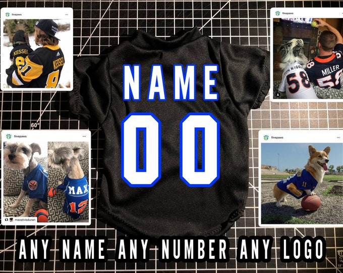 Featured listing image: Dog Jersey | Custom dog clothes | Personalized dog shirts | Custom pet shirt | Dog clothes | College dog jersey