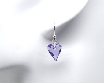Purple or Red heart earrings featuring Swarovski crystal