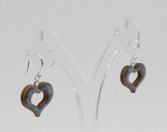 Smoky grey silver painted love heart earrings