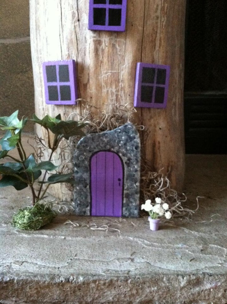 Fairy door and windows, purple fairy door on tree, fairy gardens, fairy  door indoor and outdoor