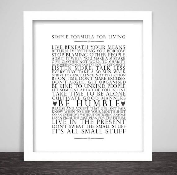 simple formula for living home decor life quotes wall art