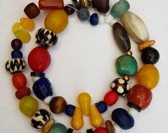 Strang Altglasperlen 13 mm lachs rosé Recycled Glass Beads Ghana Krobo