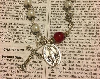 Silver Virgin Mary White Pearl and Red Jade Rosary Bracelet